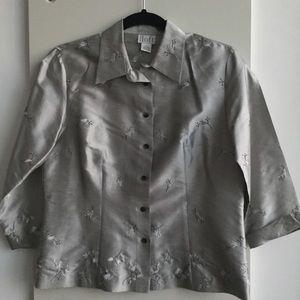 LOFT Silver floral blouse Size 6 Silk